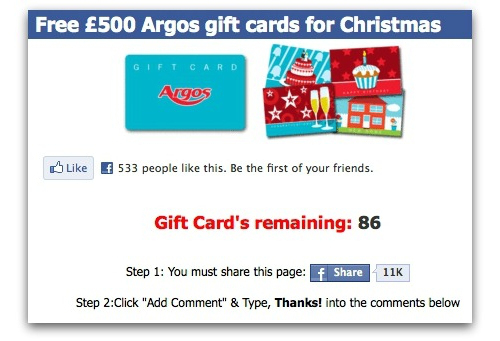 free argos gift card for christmas it s a facebook scam. Black Bedroom Furniture Sets. Home Design Ideas